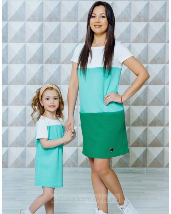 Комплект в стиле Family Look Триада М-2130 цвет зеленый