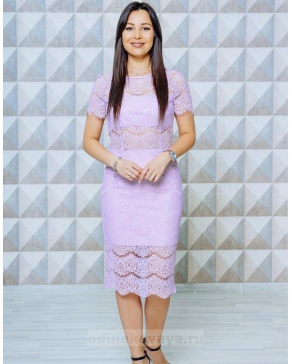 Кружевное коктейльное платье Вивьен  М-1131 цвет сиреневый