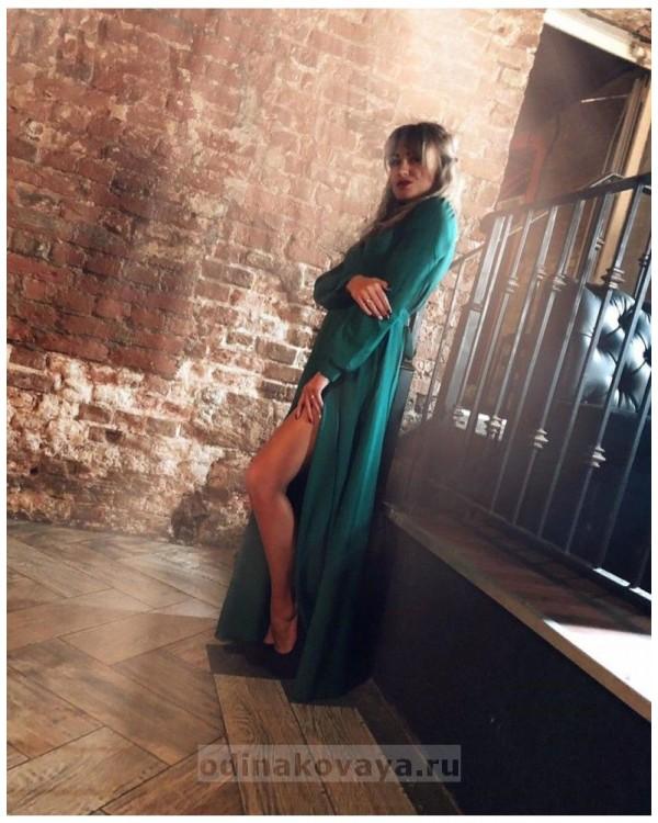 Платье на запах Макси М-1058 цвет зеленый