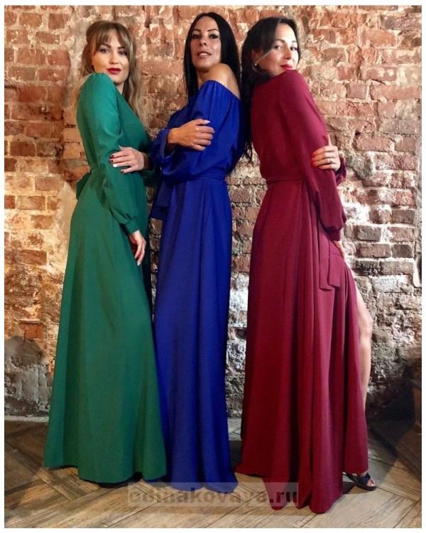 Платье на запах Макси PLUS М-1058 цвет зеленый