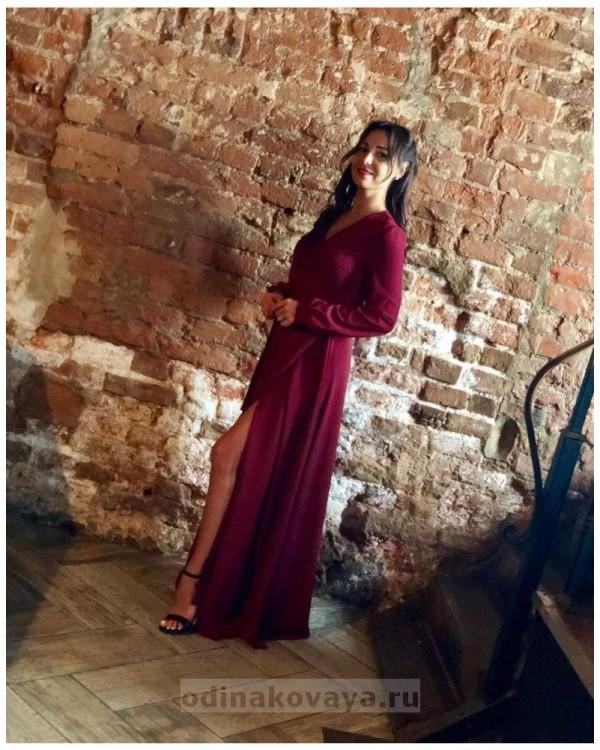 Платье на запах Макси PLUS М-1058 цвет бордовый