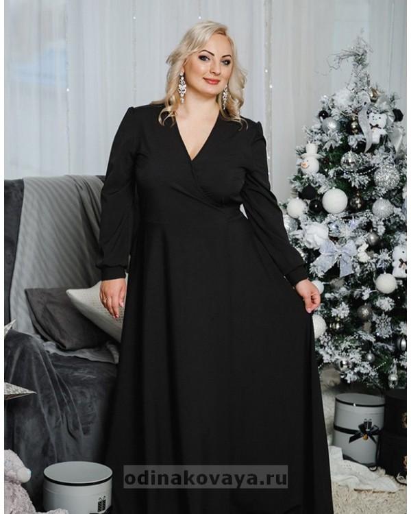 Платье на запах Макси М-1058 цвет черный