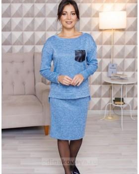 Трикотажный комплект из джемпера и юбки миди Меланж М-2103