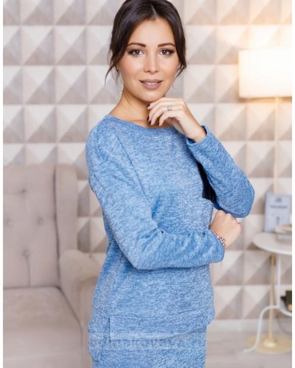 Трикотажный комплект из джемпера и юбки миди Меланж М-2103 Цвет::голубой