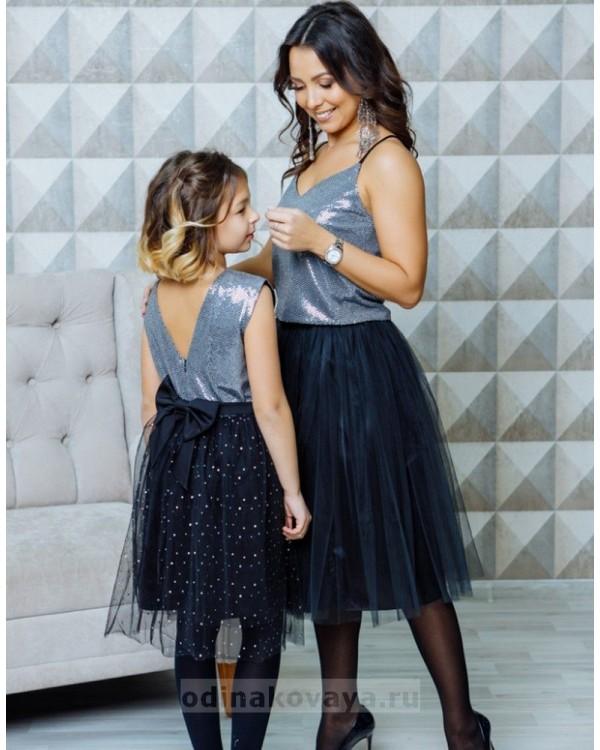 Комплект в стиле Family Look топ для мамы и платье для дочки Шик М-2107