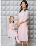 Комплект нарядных платьев мама и дочка Флёр М-2108 персик