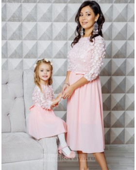 Комплект нарядных платьев мама и дочка Флёр М-2108