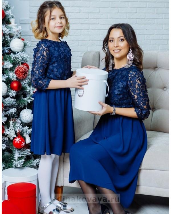 Комплект нарядных платьев мама и дочка Флёр М-2108 цвет синий