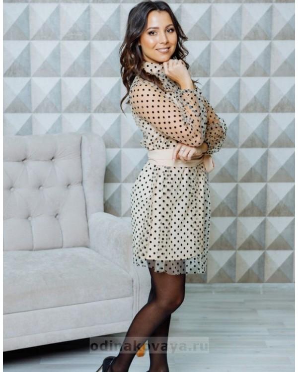 Платье-мини с принтом в горошек Сити М-2112