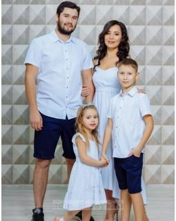 Одинаковые рубашки для папы и сына Флорида М-2116
