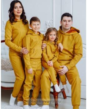 Спортивные костюмов для пары Люкс М-2160 горчица