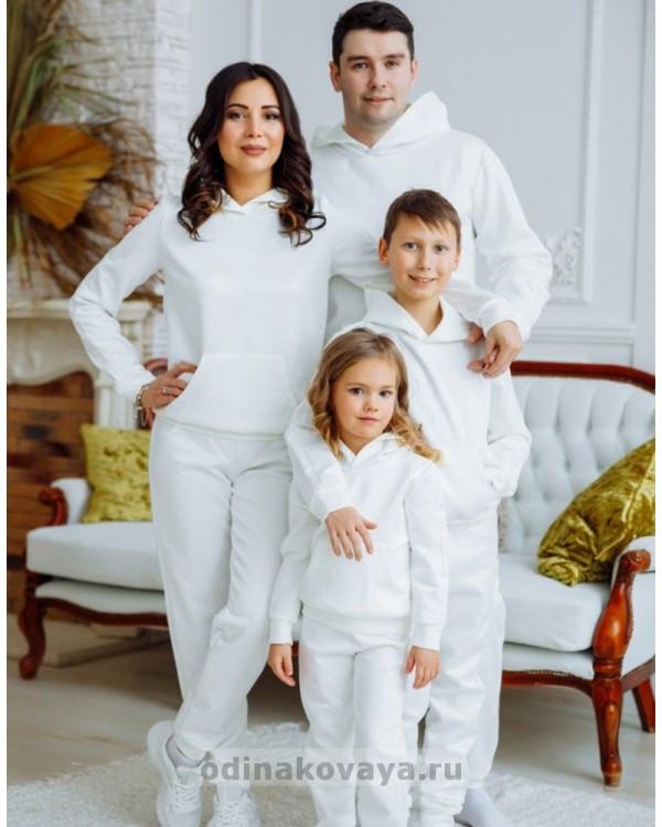 Спортивные костюмов для пары  Люкс М-2160 белый
