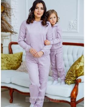 Комплект спортивных костюмов для мамы и дочки Люкс М-2160 сирень