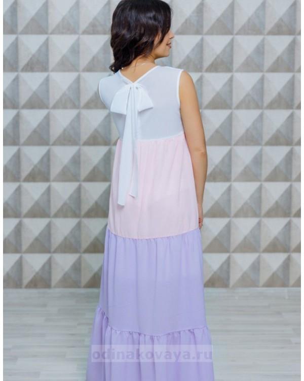Длинное летнее платье с бантом на спине