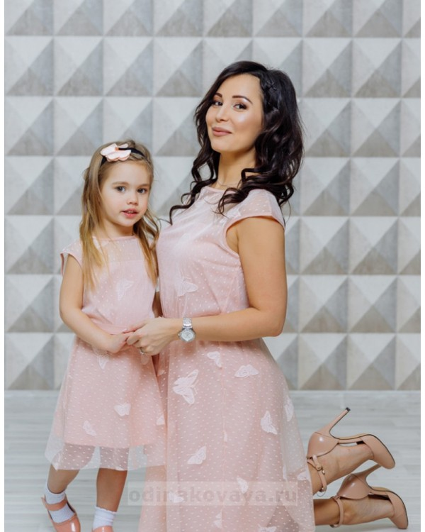 Нарядные платья для мамы и дочки Бабочки М-2122