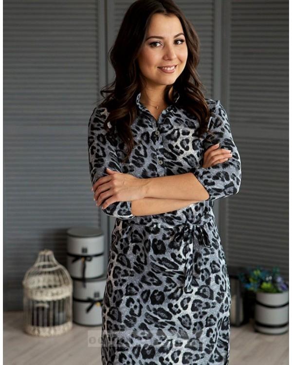 Платье-рубашечного типа Лео М-1069 цвет серый