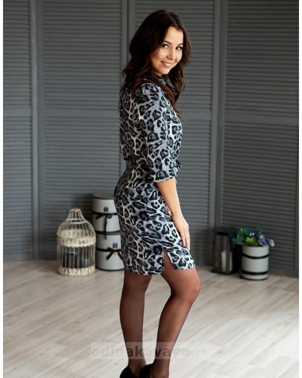 Платье-рубашечного типа Лео PLUS М-1069 цвет серый