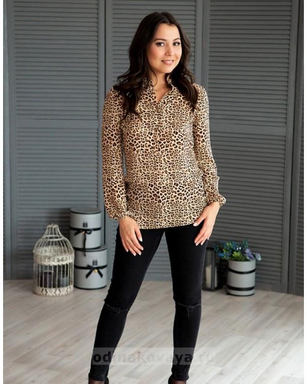 Шифоновая блузка Сафари PLUS М-1077 цвет коричневый