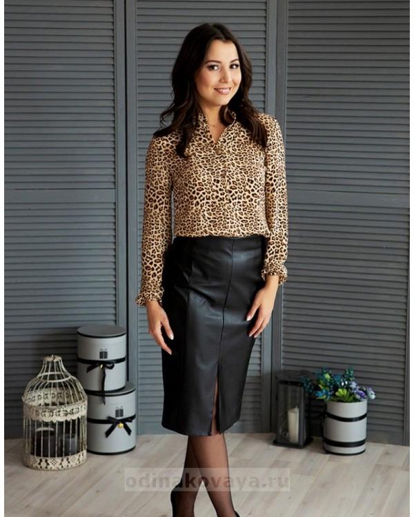 Шифоновая блузка Сафари М-1077 цвет коричневый