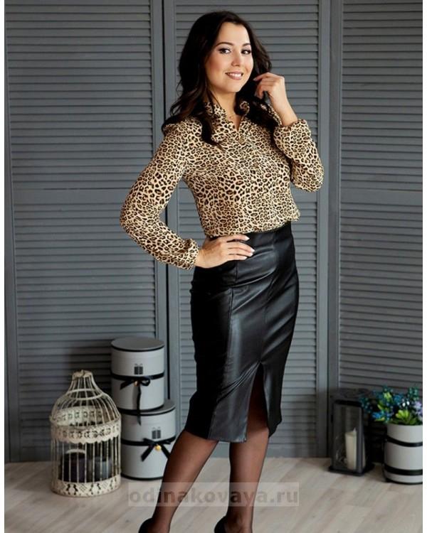 Кожаная юбка с разрезом М-1072 цвет черный