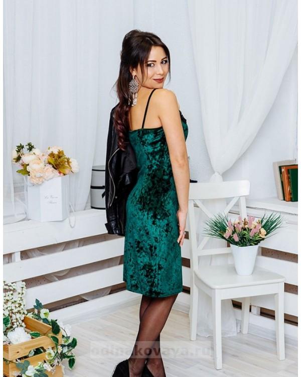 Бархатное платье на бретельках Лолита М-1073 цвет зеленый