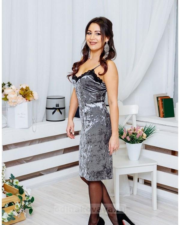 Бархатное платье на бретельках Лолита М-1073 цвет серый