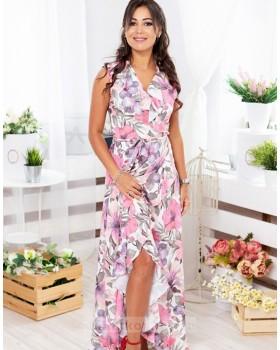 Длинное платье в пол на запах Экзотика М-1082