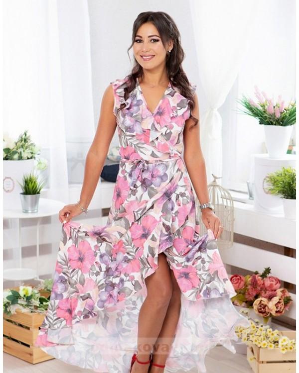 Длинное платье в пол на запах Экзотика М-1082 цвет розовый
