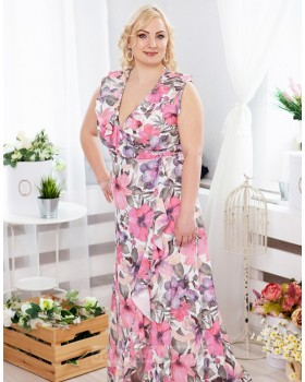 Длинное платье в пол на запах Экзотика PLUS М-1082