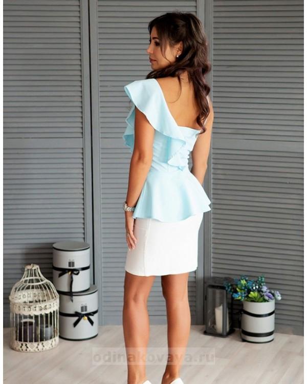Топ с воланом на плече Вита М-1083 цвет голубой
