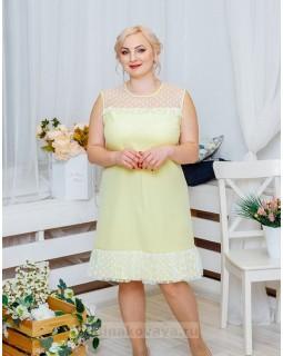 Платье с воланом Суфле PLUS М-2060