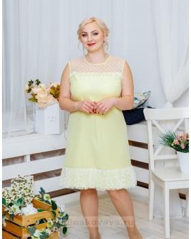 Платье с воланом Суфле PLUS М-2060 цвет желтый