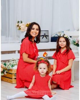 Комплект платьев с воланами Family Look для мамы и дочки Кармен М-2064