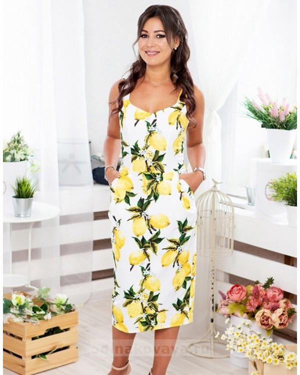 Летнее платье-футляр миди Тропиканка М-2066 цвет желтый