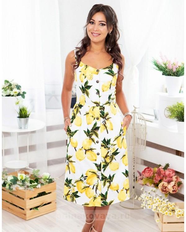 Летнее платье на пуговицах Фруктовый микс М-2070 цвет желтый