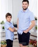 Одинаковые рубашки для папы и сына Майями М-2081 голубой