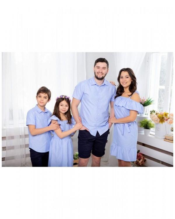 Одинаковые рубашки для папы и сына Майями М-2081 цвет голубой