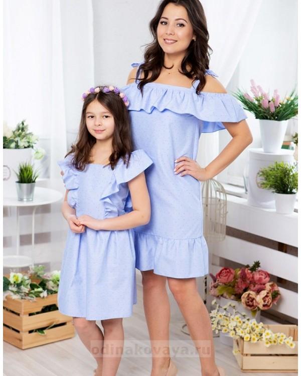 Комплект платьев в одном стиле для мамы и дочки Майями М-2081 цвет голубой