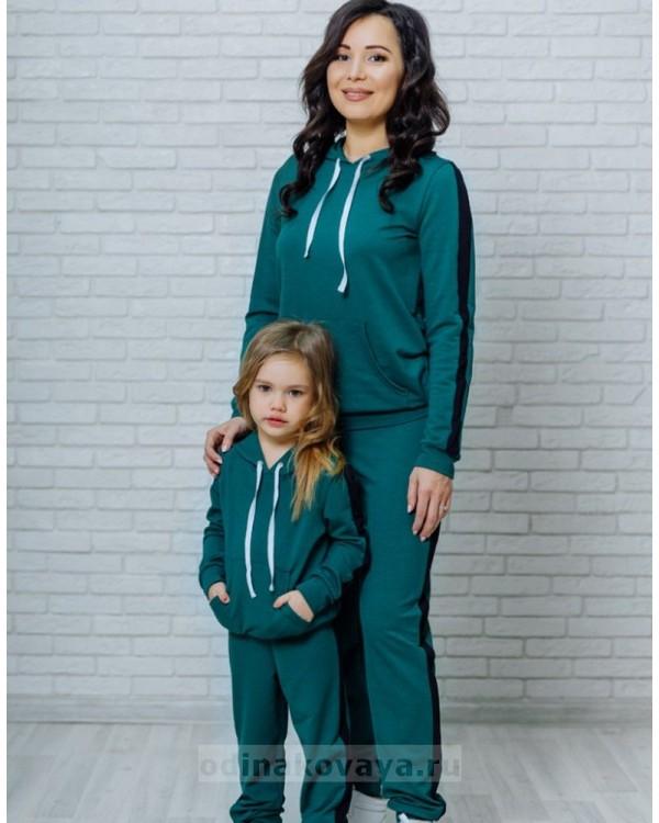 Одинаковые костюмы для мамы и дочки Кэжуал М-2090 зеленый