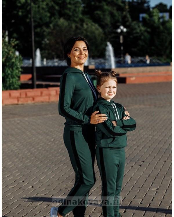 Спортивный костюм для всей семьи в одном стиле Кэжуал М-2090 зеленый
