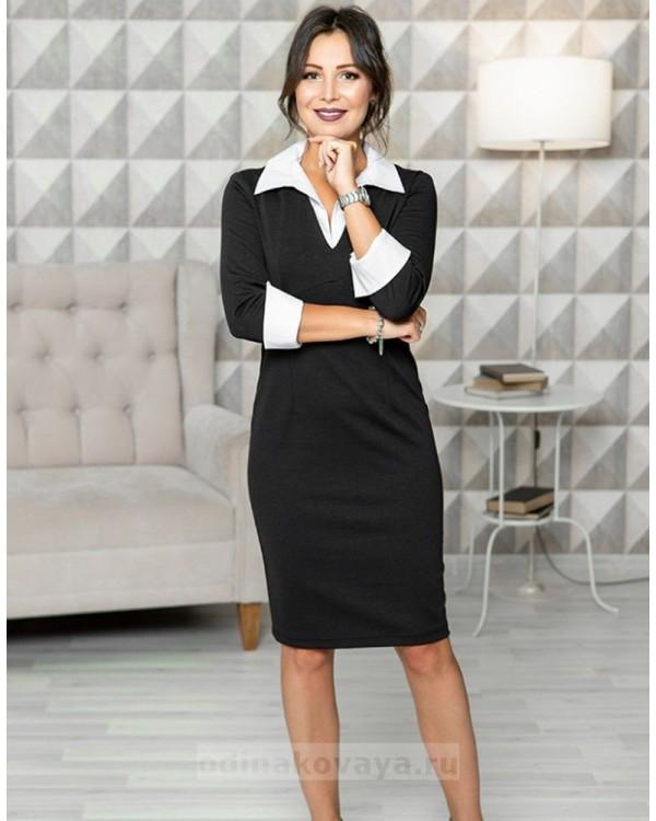 Офисное платье футляр Микс М-1097