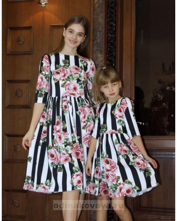 Одинаковые платья для мамы и дочки, КМ2193 черный принт полоска