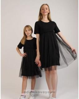 Черные фатиновые платья для мамы и дочки, КМ2156