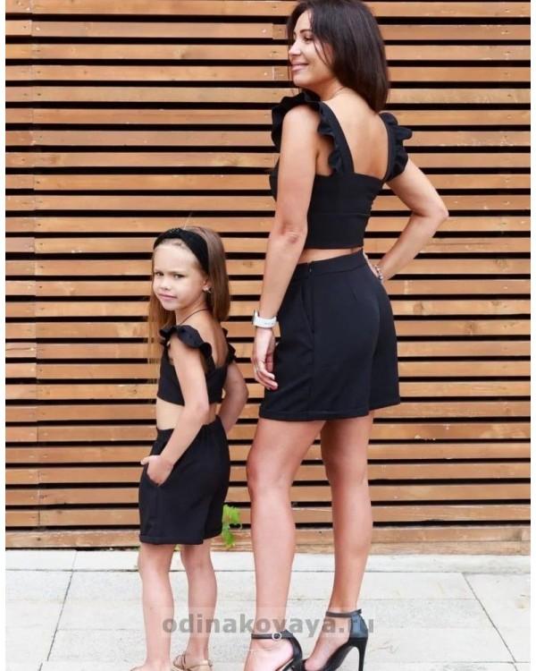 Комплект family look шорты и топ для мамы и дочки Зара М-2129