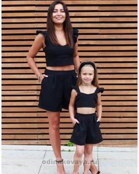 Комплект family look шорты и топ для мамы и дочки Зара, черный