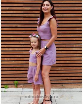 Комплект family look шорты и топ для мамы и дочки Зара, пыльная роза