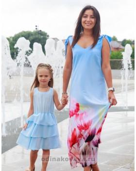 Комплект летних платьев из шифона в стиле family look Камелия  М-2135 голубой
