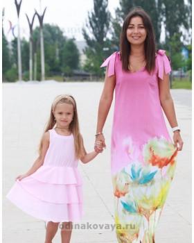 Комплект летних платьев из шифона в стиле family look Камелия М-2135
