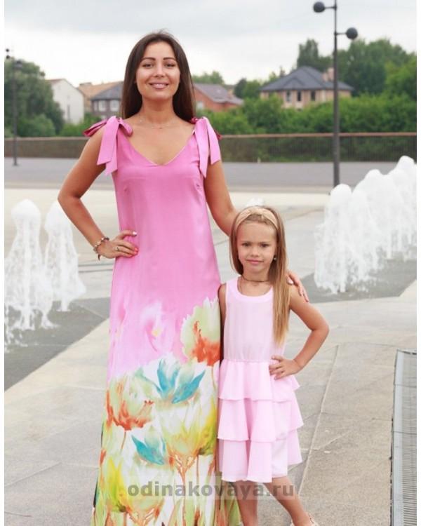 Комплект летних платьев из шифона в стиле family look Камелия  М-2135 пыльная роза