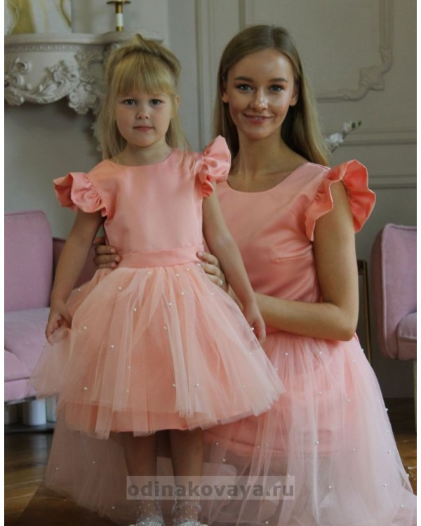 Нарядные платья из фатина для мамы и дочки, арт. КМ5993